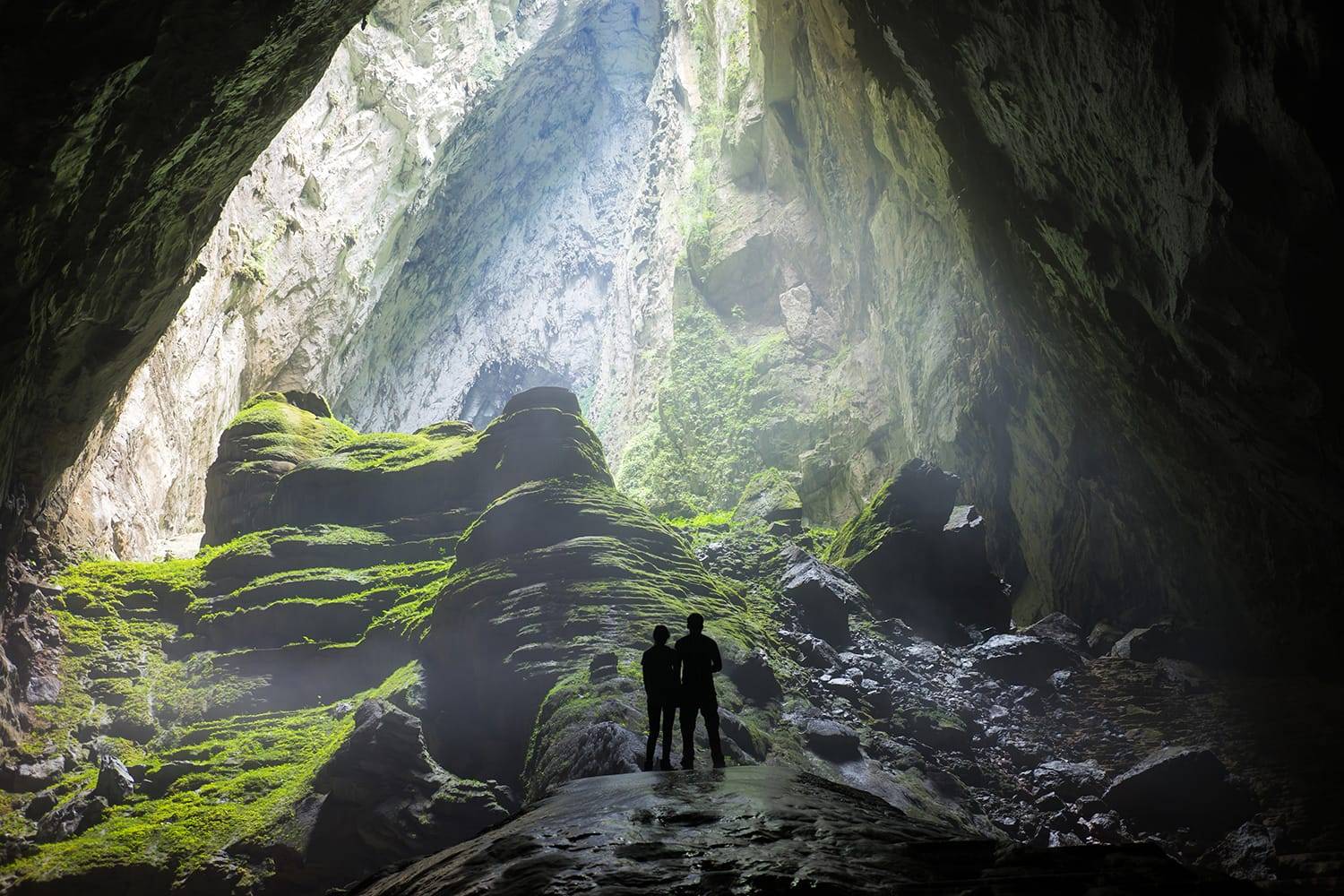 Mystery misty cave entrance in Son Doong Cave, the largest cave in the world in UNESCO World Heritage Site Phong Nha-Ke Bang National Park, Quang Binh province, Vietnam