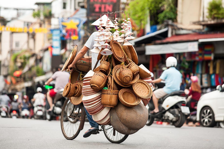 Street vendors in Hanoi's Old Quarter, Vietnam