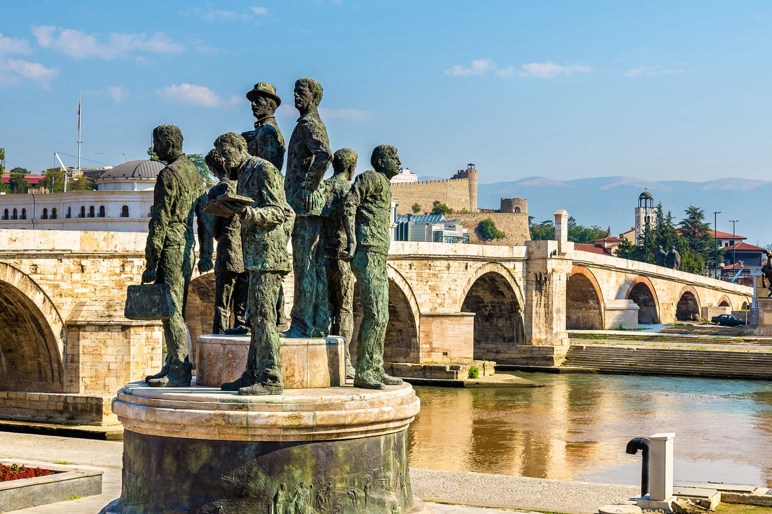 Monument of the Boatmen of Salonica in Skopje, Macedonia
