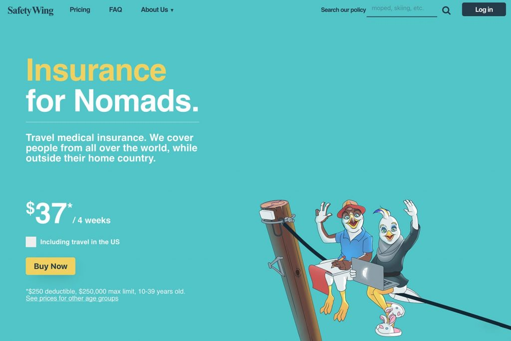 SafetyWing digital nomad insurance website banner