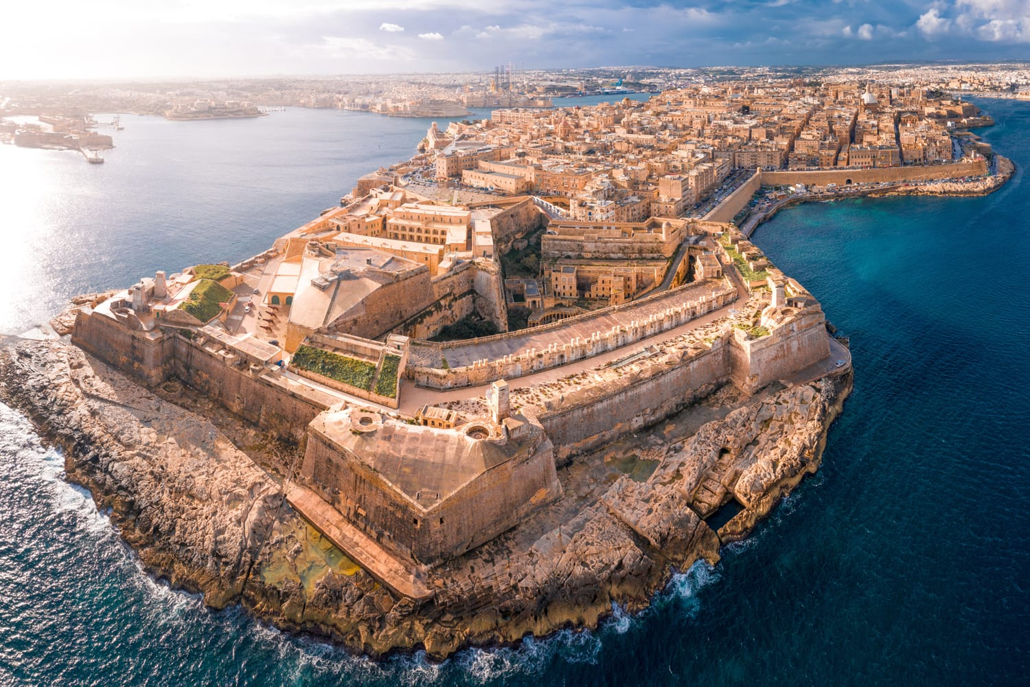 Aerial view of Fort St. Elmo in Valletta, Malta