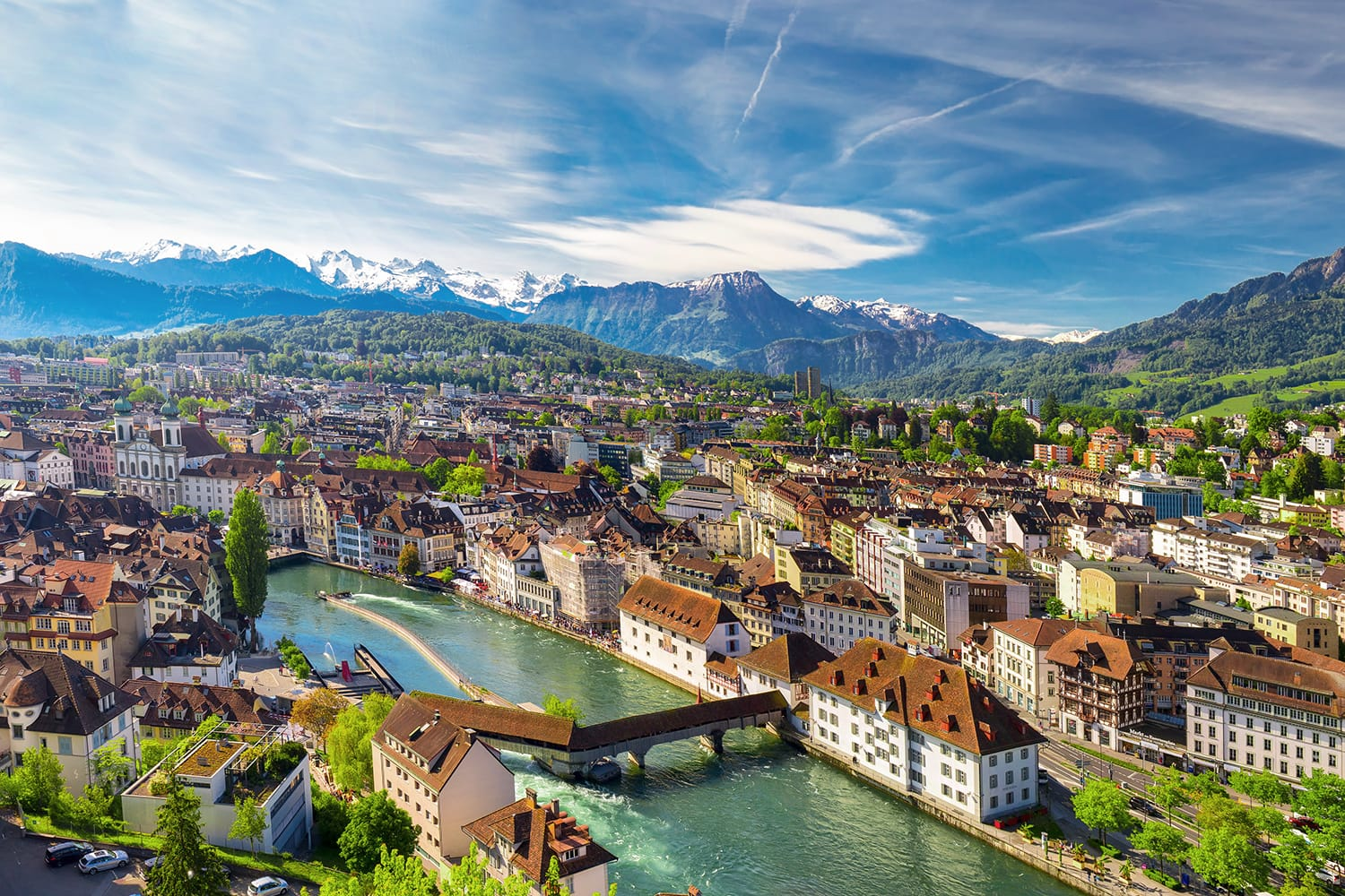 Aerial view of historic city center of Lucerne with famous Chapel Bridge and lake Lucerne (Vierwaldstattersee), Canton of Luzern, Switzerland