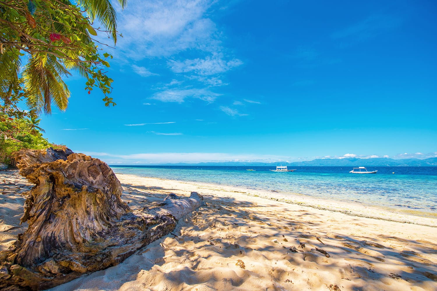 View of the sandy beach in Moalboal, Cebu, Philippines