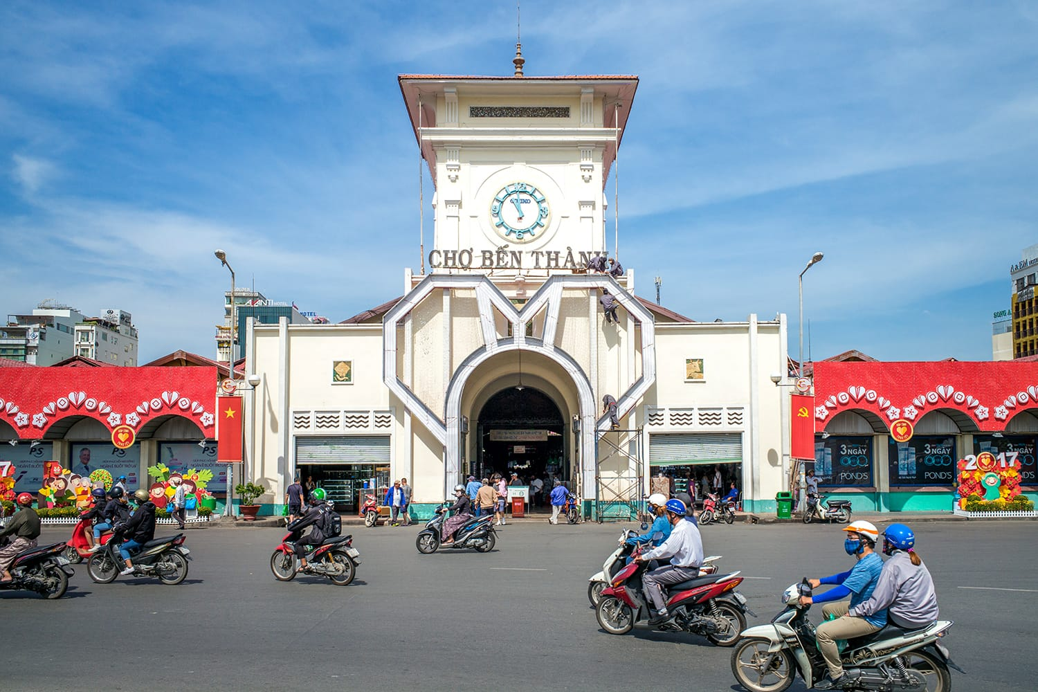 The entrance of Saigon Central Market, also known as Ben Thanh market, one of the earliest surviving structures in Ho Chi Minh City, Vietnam
