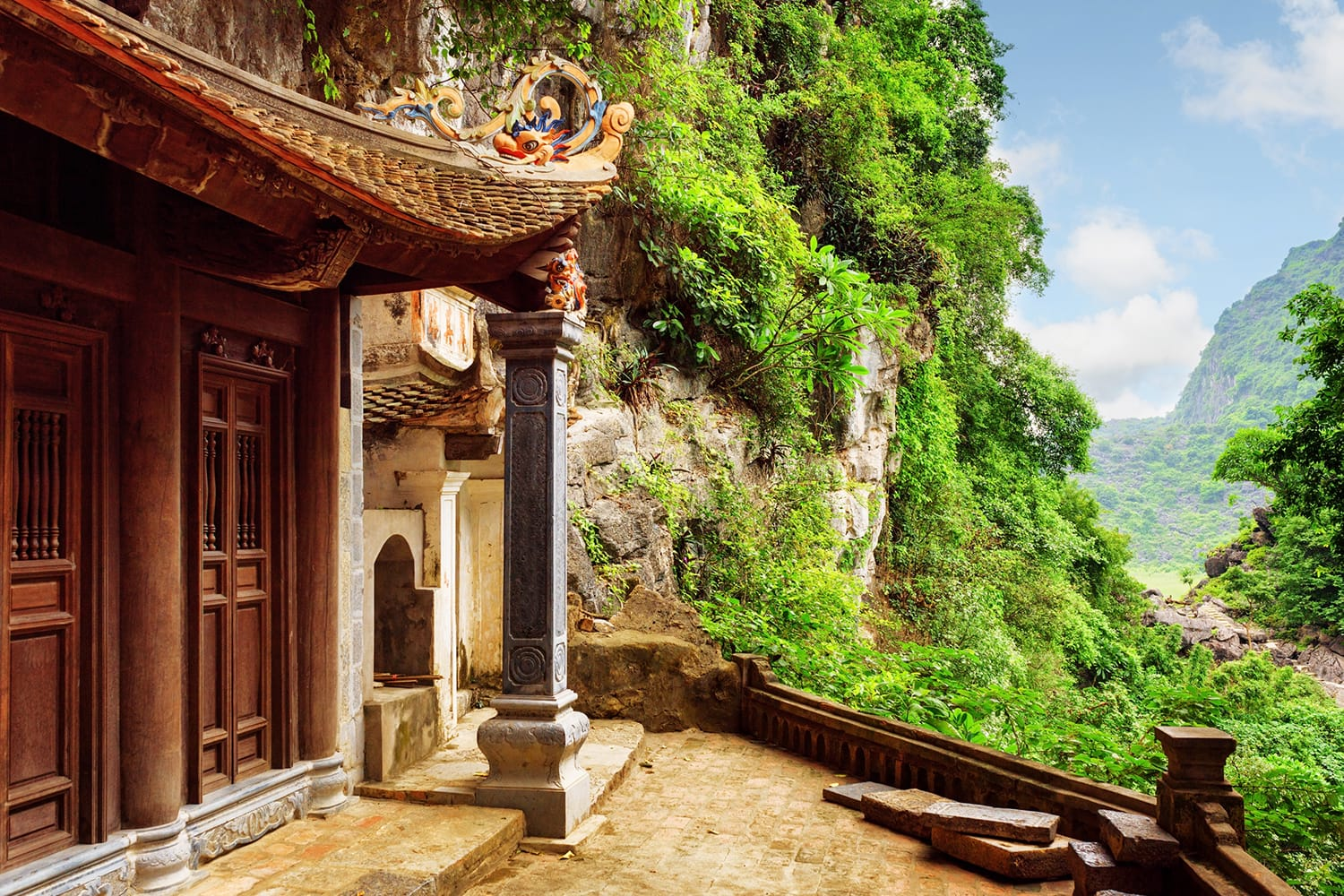 Scenic view of the Bich Dong Pagoda at Ninh Binh Province in Vietnam