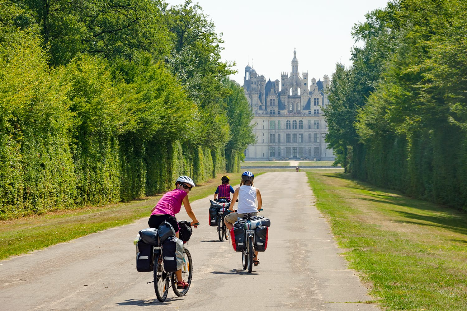 Bikers touring near Chambord castle in the Loire Valley, France