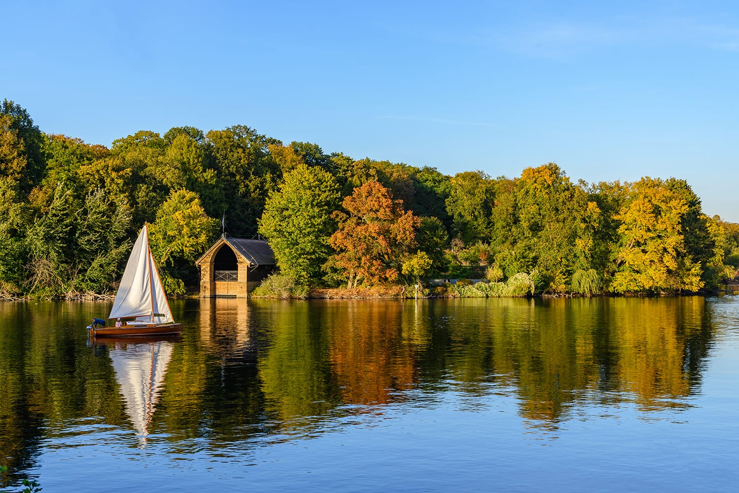 Boat on Wannsee in Berlin, Germany