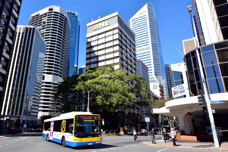 Bus transportation in Brisbane CBD.Brisbane Transport operating bus services under the TransLink integrated public transport scheme in Brisbane.