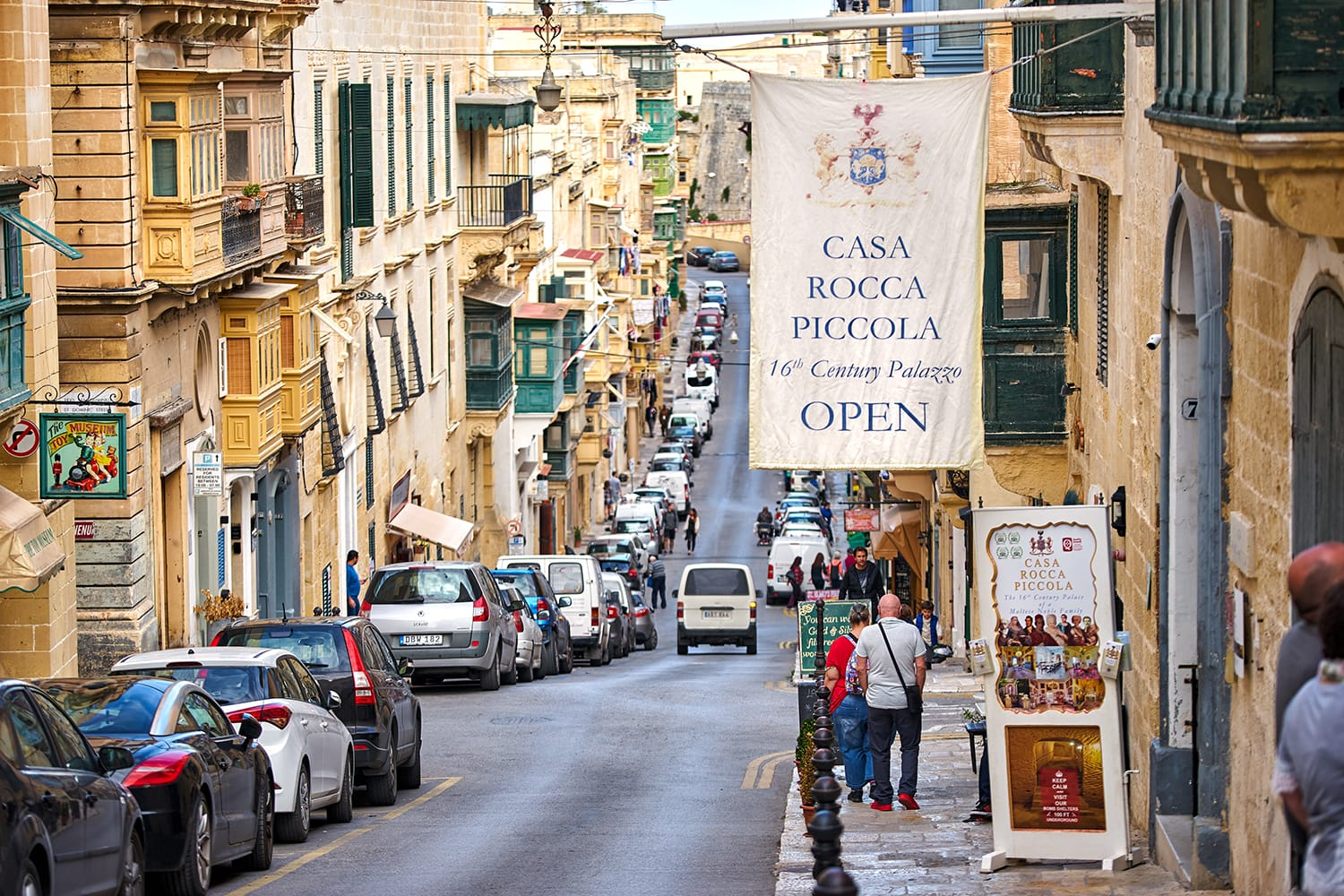 Casa Rocca Piccola museum at the street of Valletta, Malta