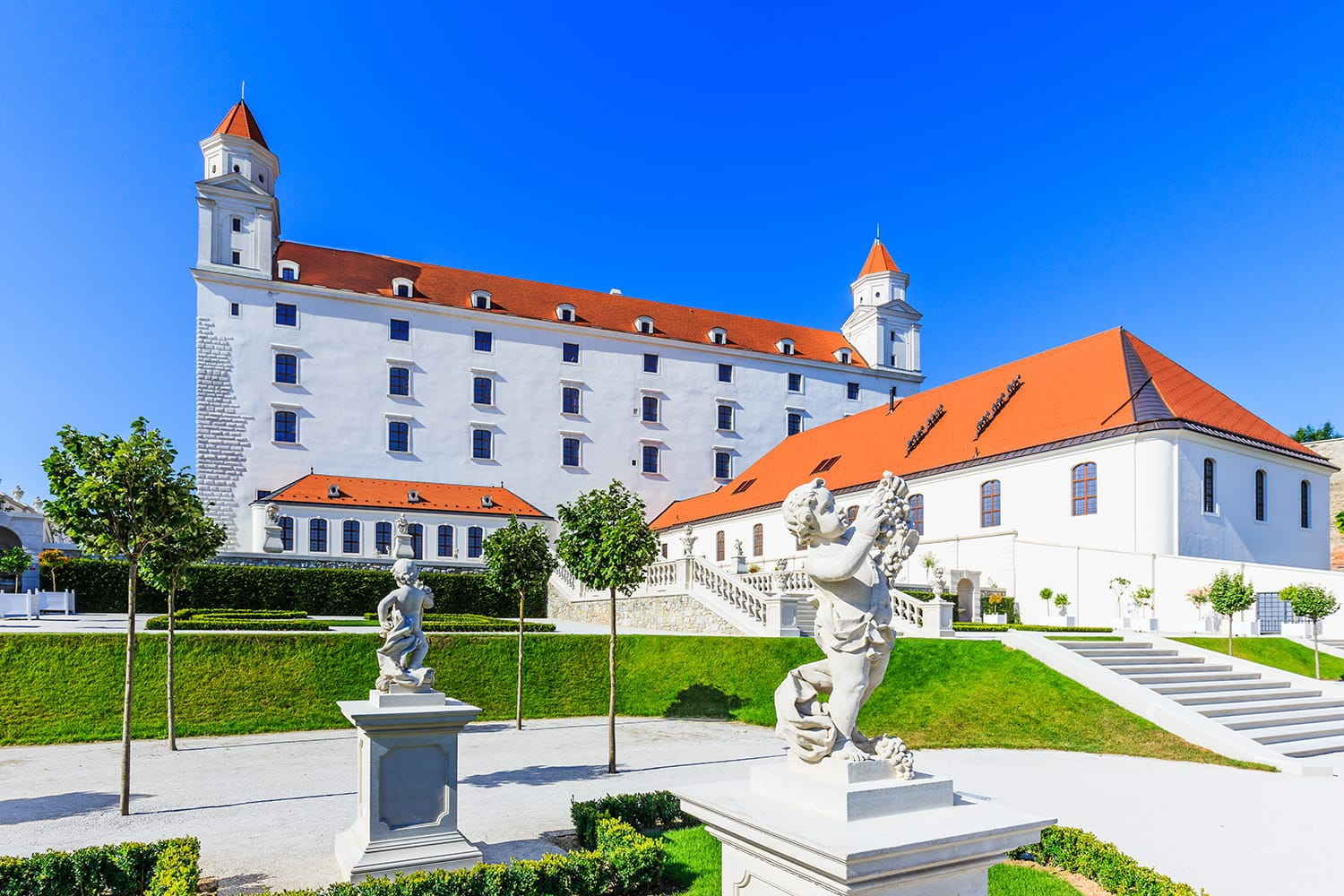 View of the Bratislava castle and its gardens.