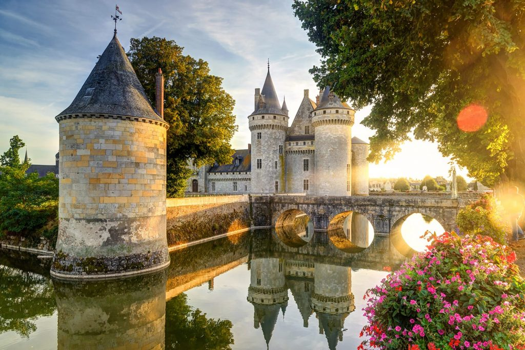 Chateau de Sully-sur-Loire in the sunset light, France