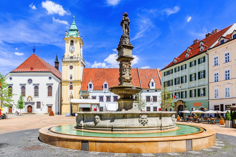 Main square with city hall in Bratislava, Slovakia