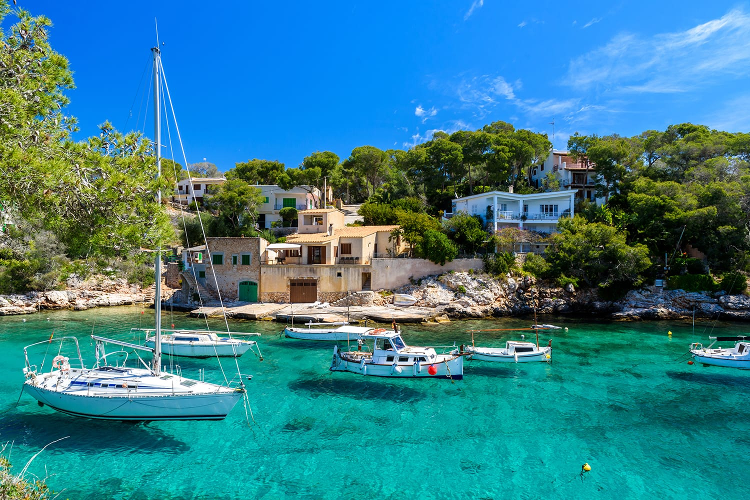 Beautiful coast and harbour of Cala Figuera in Mallorca, Spain