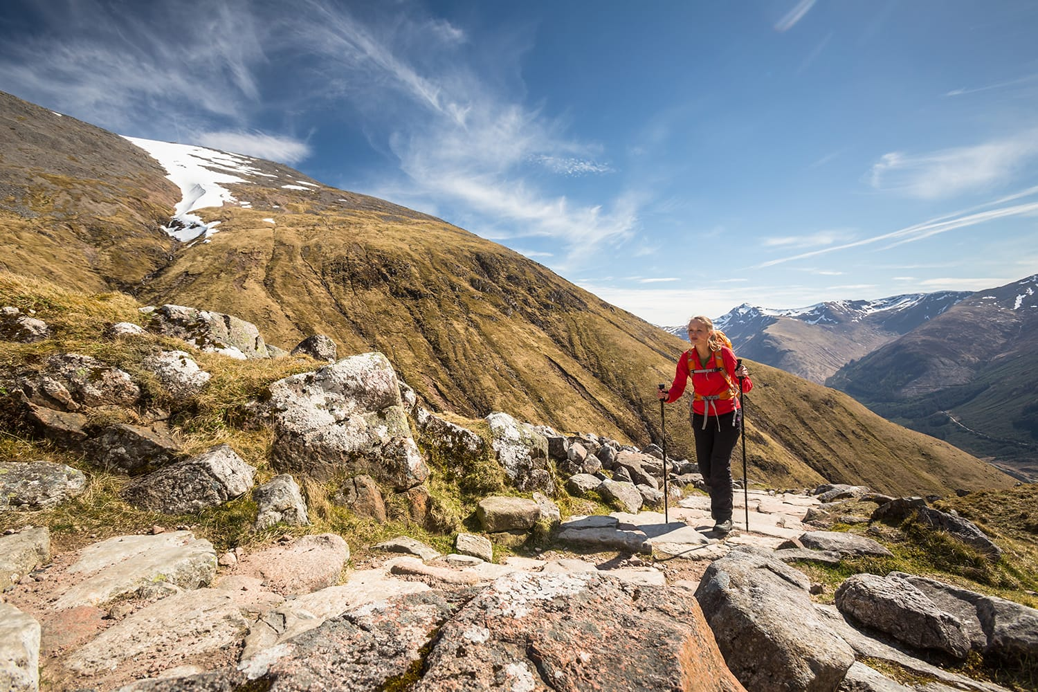 Hiker on Ben Nevis in Scotland, UK