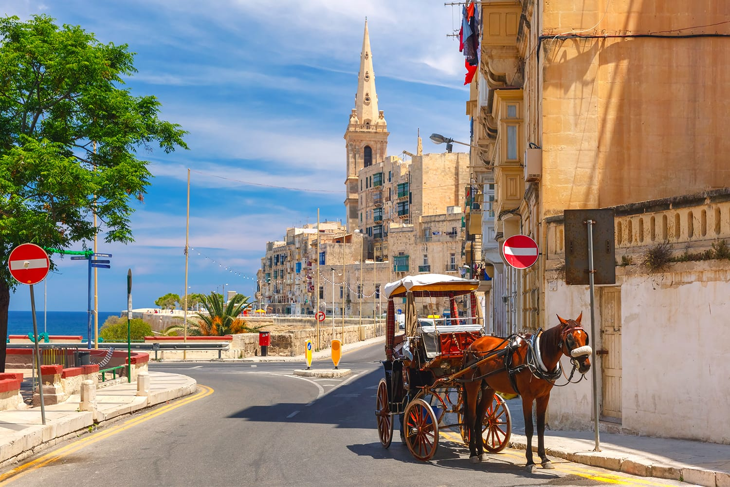 Horse carriage on the street of old town and St. Paul's Anglican Pro-Cathedral in Valletta, Malta
