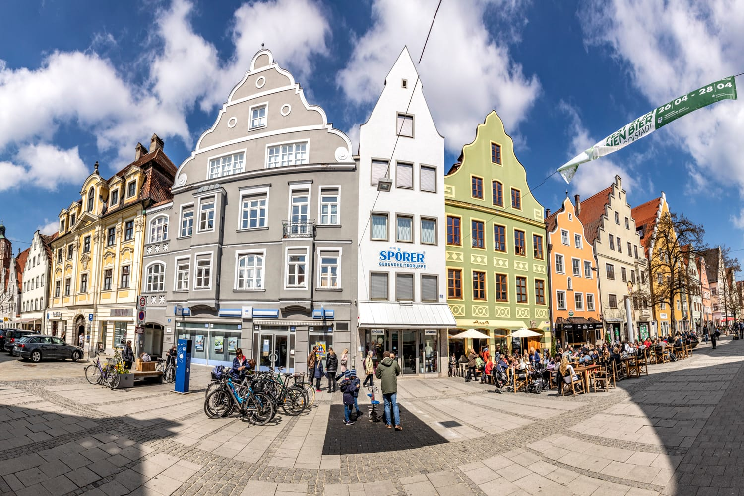 Panoramic view at the pedestrian Zone in the old touristic part of Ingolstadt, Germany