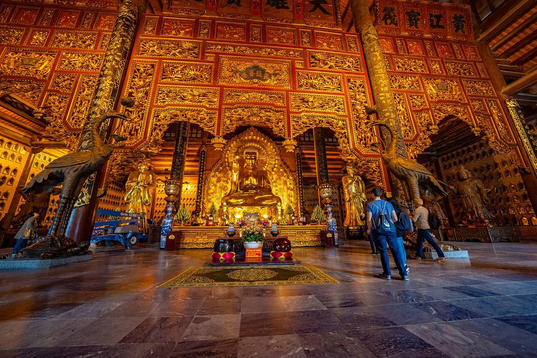 Inside the Bai Dinh Pagoda in Ninh Binh, Vietnam
