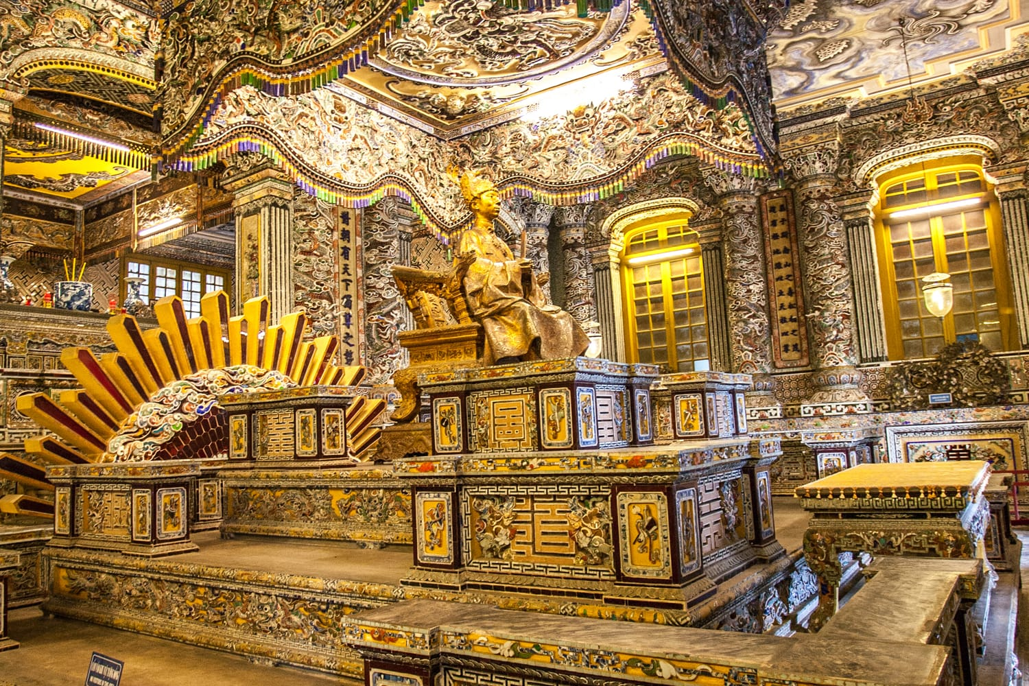 Interior of Tomb of Khai Dinh in Hue, Vietnam