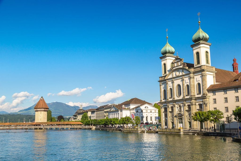Historical city center of Lucerne and Jesuit church in a beautiful summer day, Switzerland