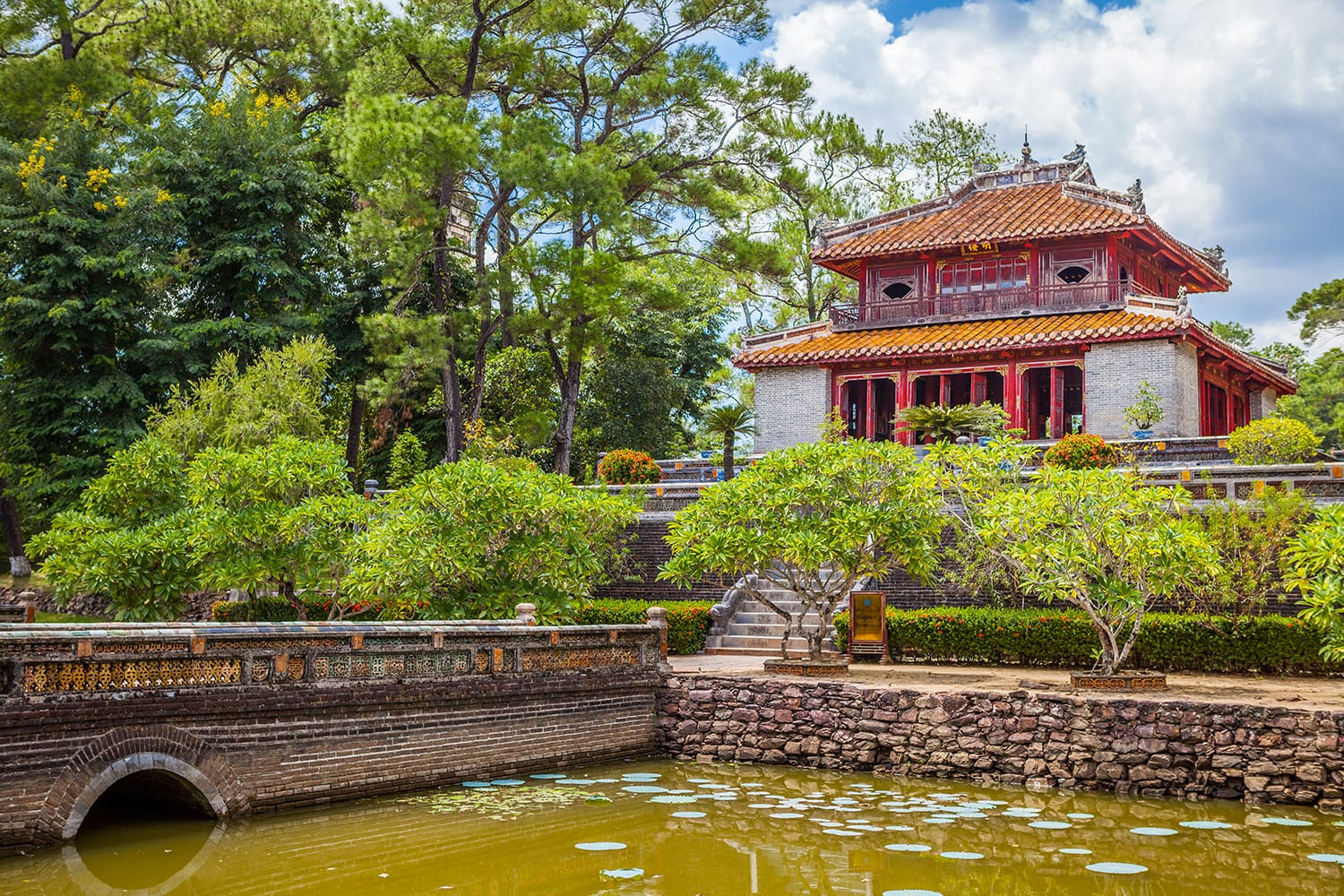 Minh Lau pavilion and Trung Dao bridge at Minh Mang Emperor Tomb in Hue, Vietnam