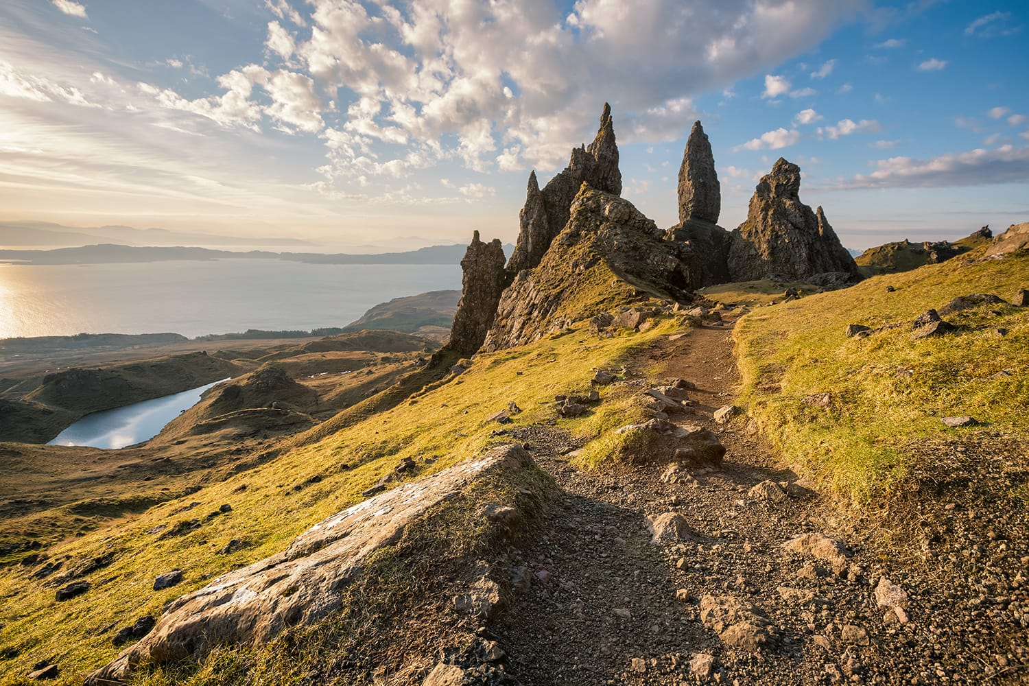 The Old Man of Storr at sunrise on Isle of Skye, Scotland, UK