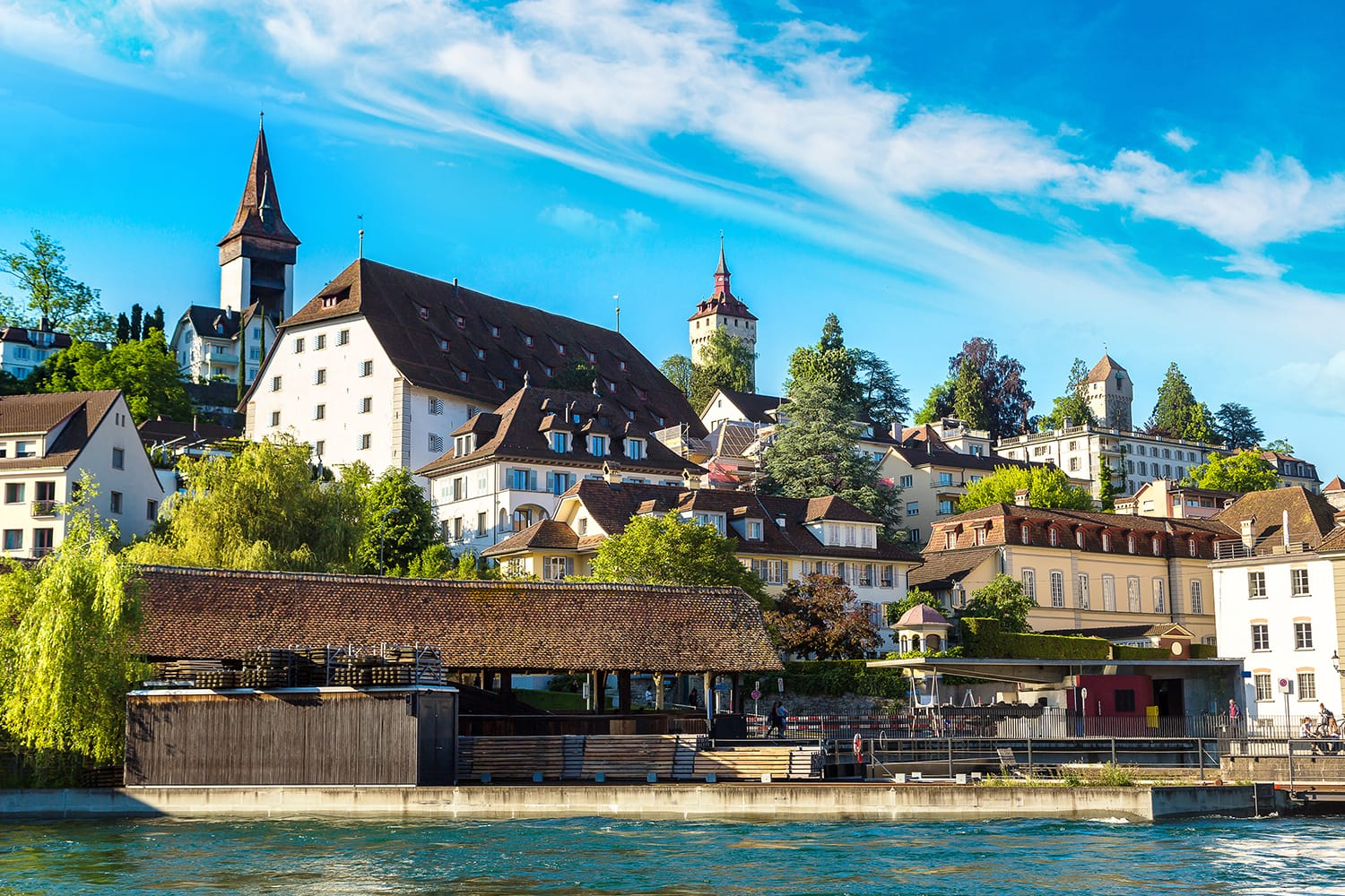Historical city center of Lucerne in a beautiful summer day, Switzerland