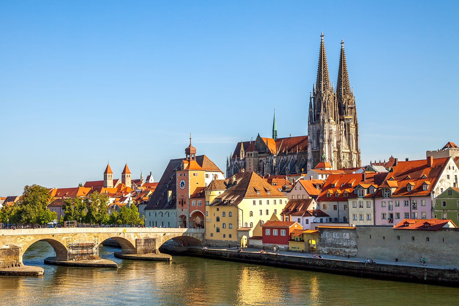 Riverfront in Regensburg, Germany