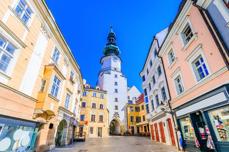 Medieval Saint Michael Gate tower in Bratislava, Slovakia