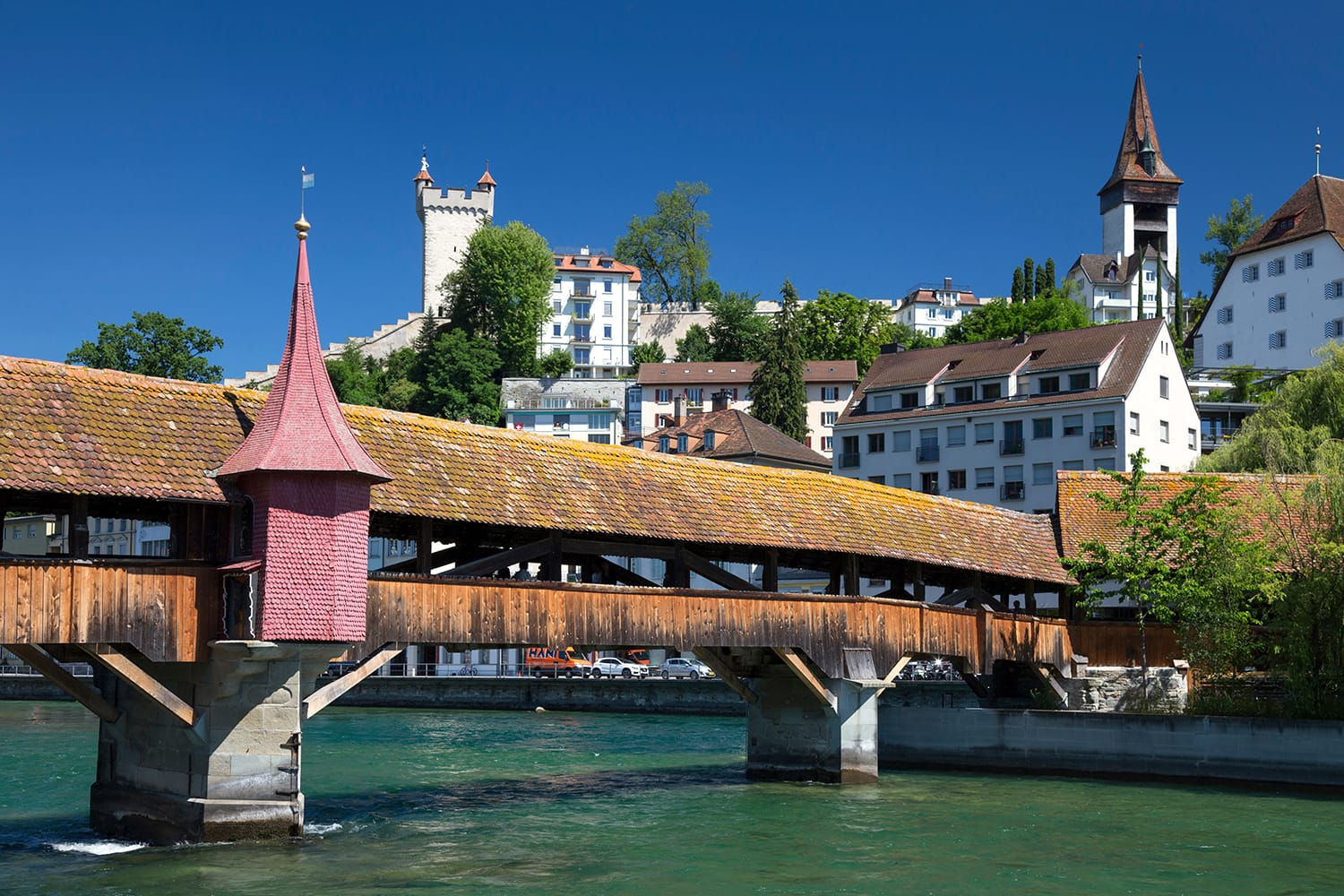 The Spreuer Bridge over the river Reuss, Lucerne, Switzerland