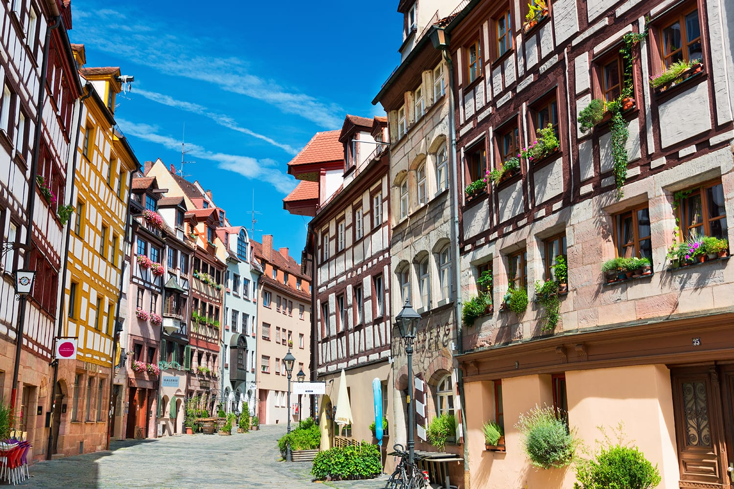 Old fachwerk houses on Weissgerbergasse street in the historical center of Nuremberg, Germany
