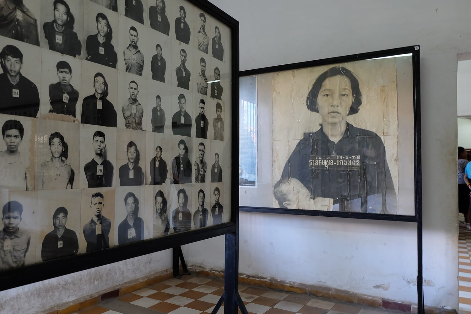 Exhibit at Toul Sleng Genocide Museum in Phnom Penh, Cambodia