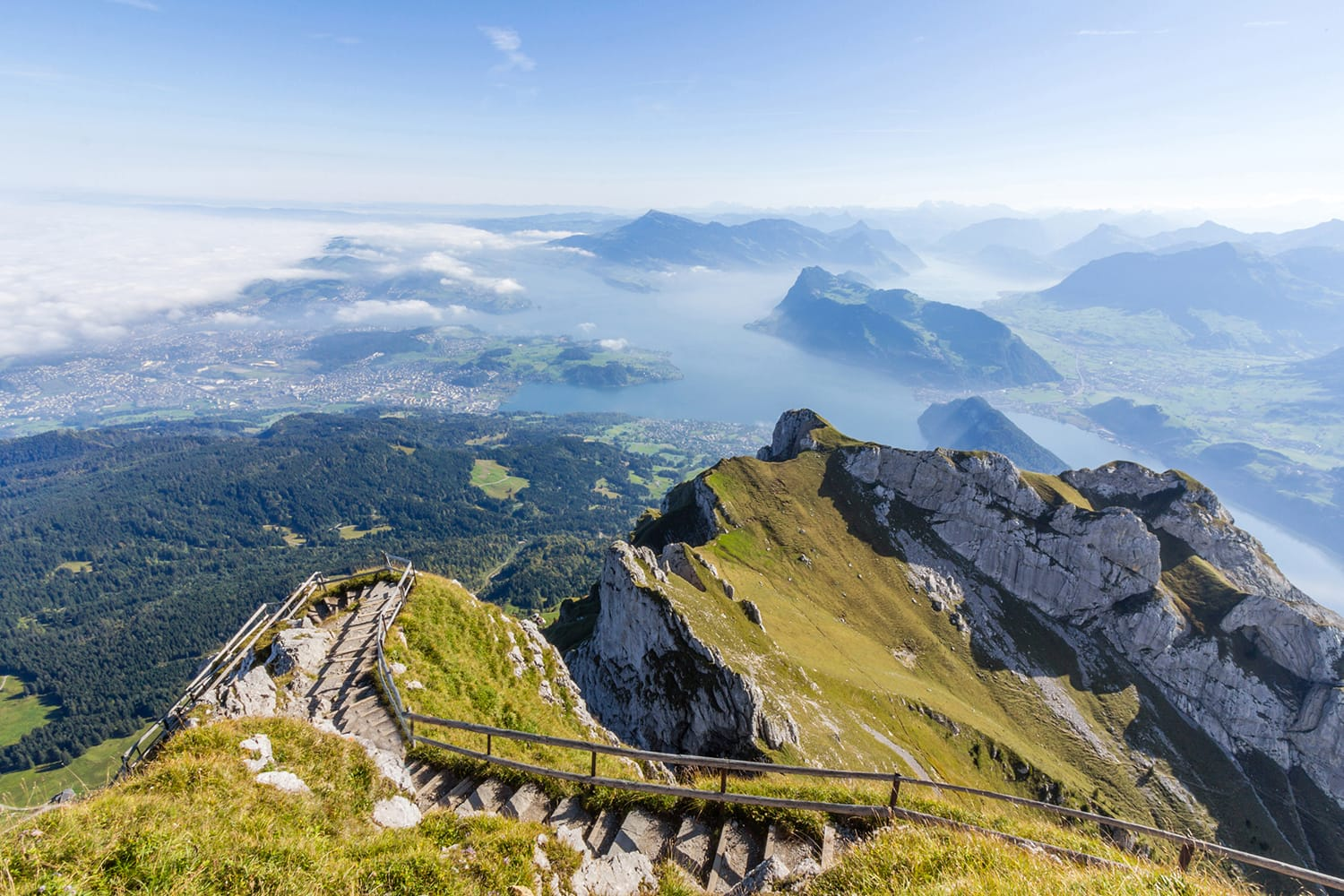 View of Swiss Alps from Mt. Pilatus in Lucerne, Switzerland