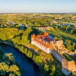 Aerial view of Bauska Castle in Latvia
