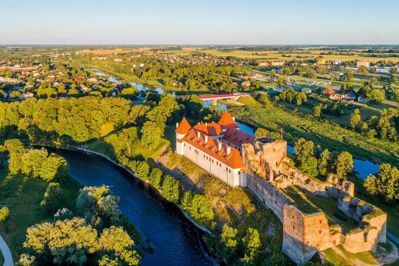 Aerial view of Bauska Castle in Latvia