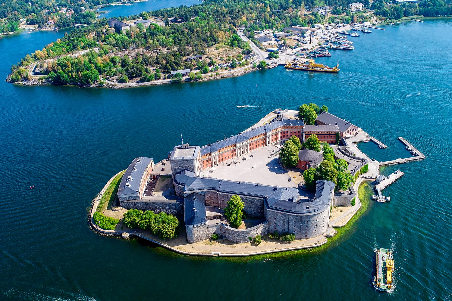 Aerial view of castle in Vaxholm, Sweden