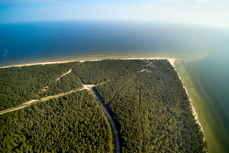 Aerial view of Kolka cape, Baltic sea, Latvia