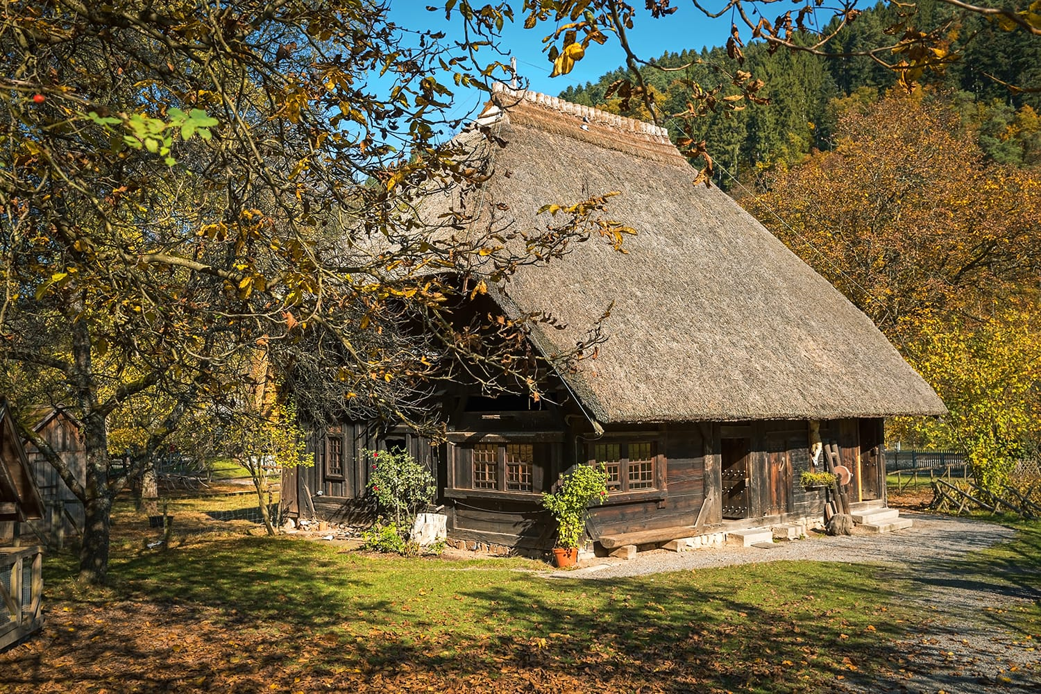 One of the historic farmhouse in the Black Forest Open-Air Museum in autumn