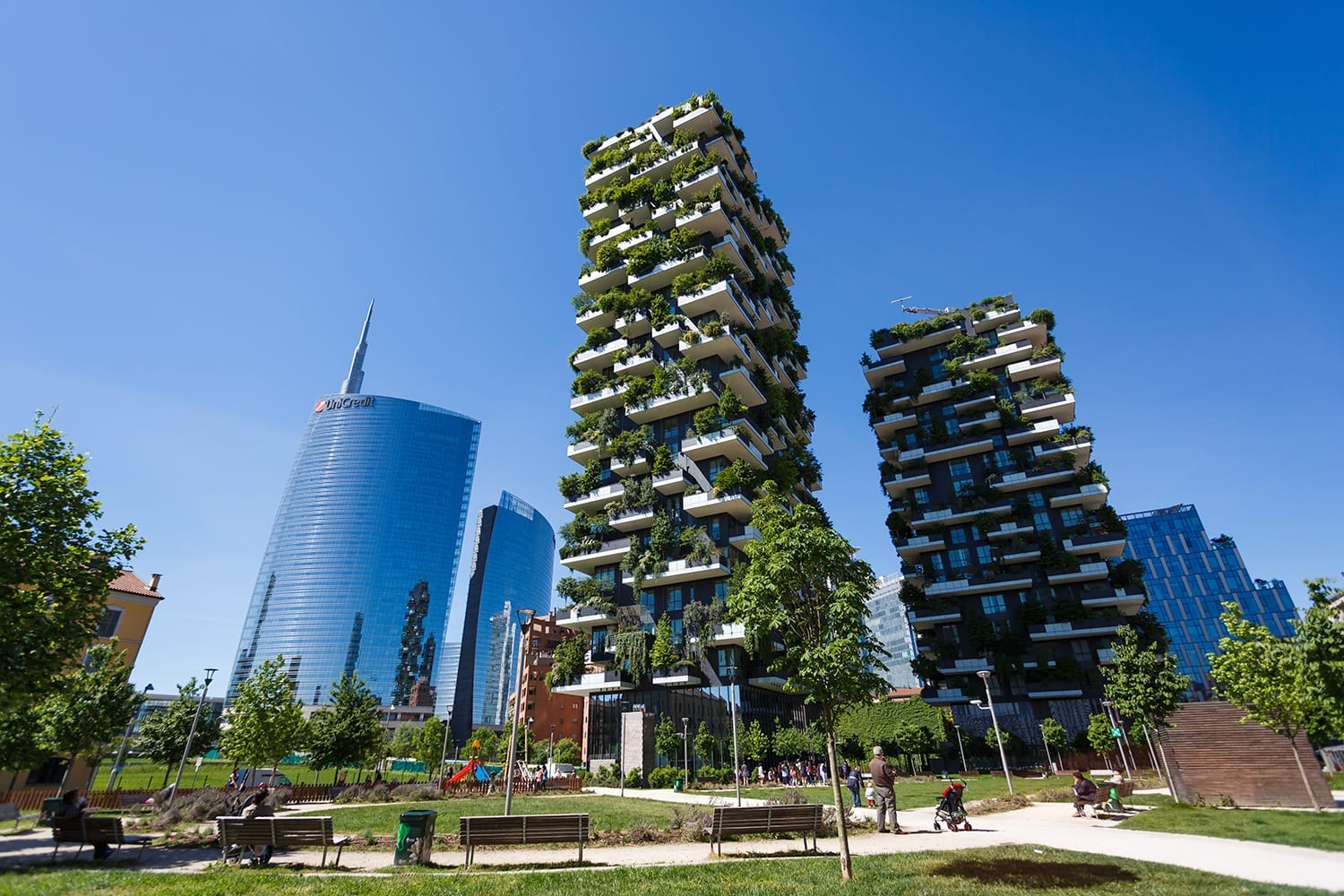 Bosco Verticale, vertical forest apartment buildings in Milan, Italy