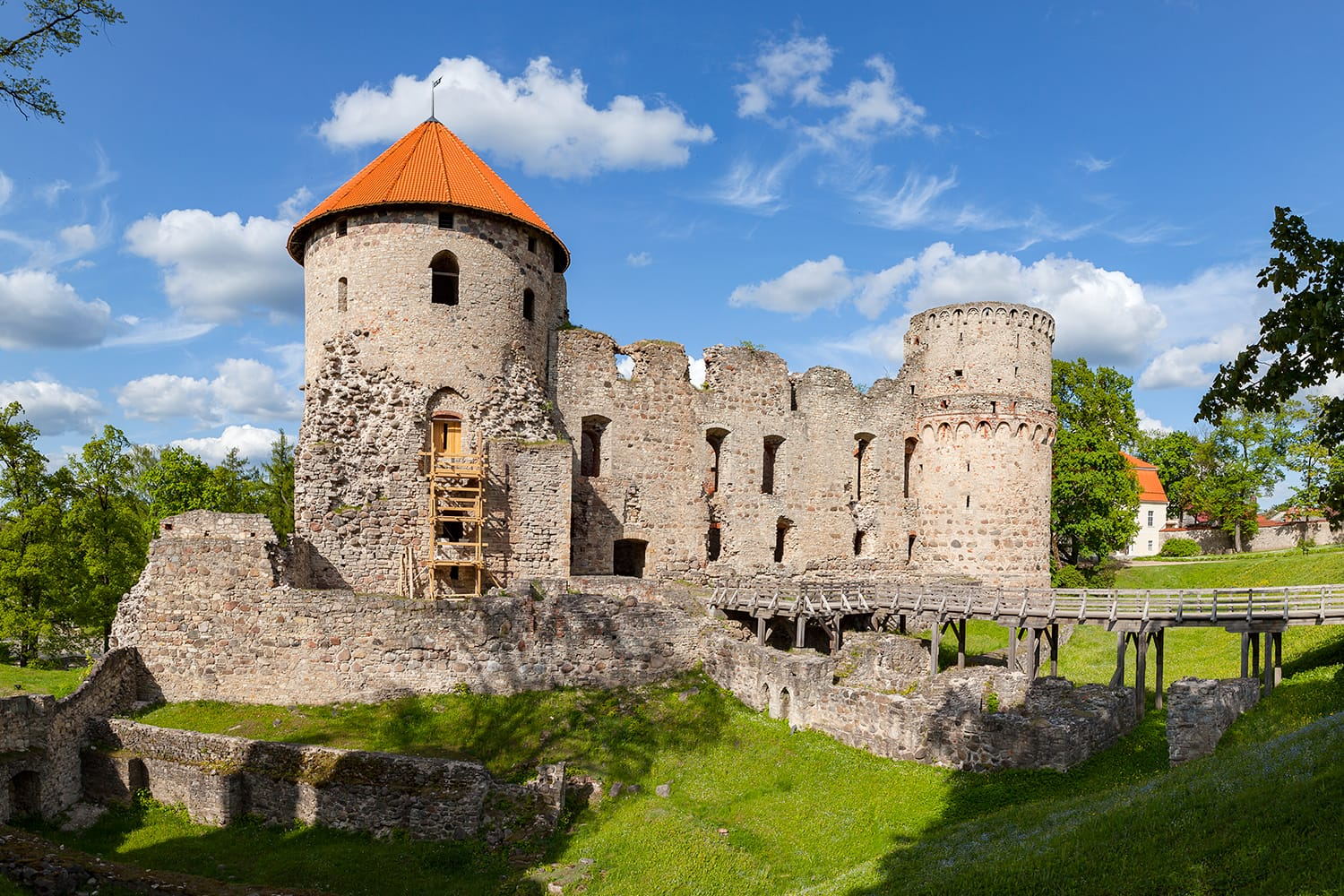 View of beautiful ruins of ancient Livonian castle in old town of Cesis, Latvia