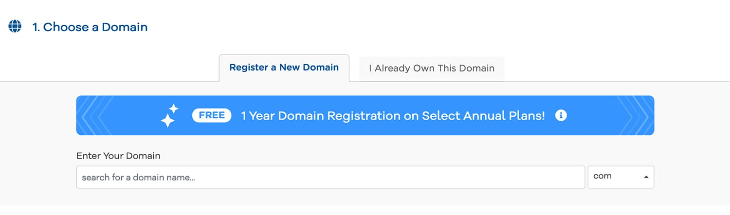 Choose a domain name with Hostgator