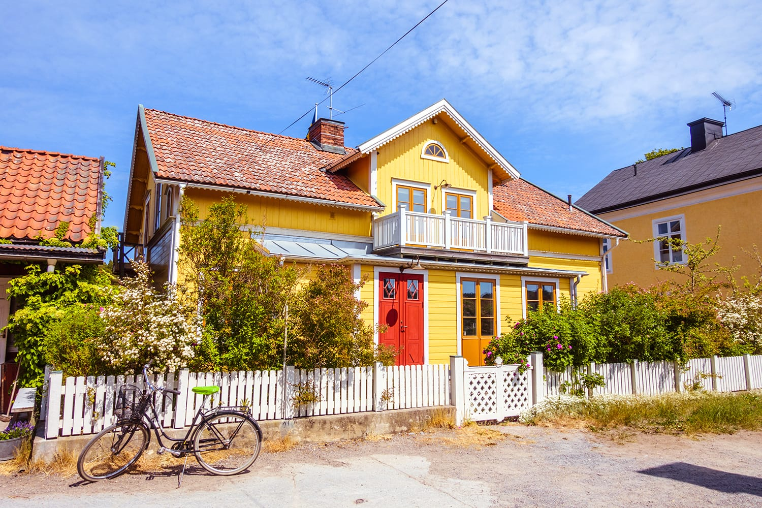 Colourful house on Sandhamn island, Sweden