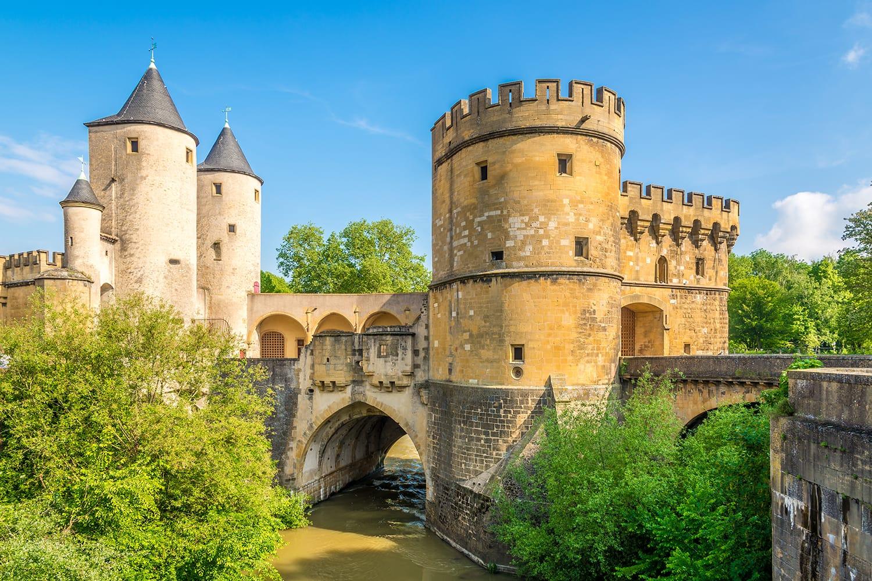 View at the German Gate bridge in Metz, France