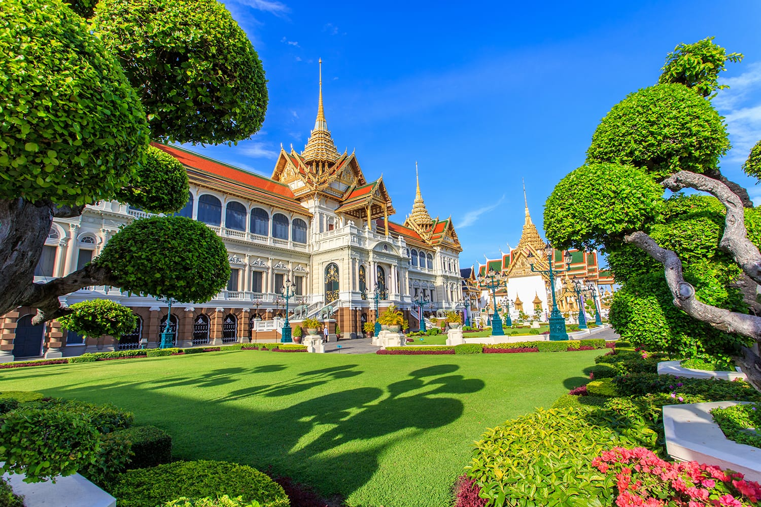 Royal Grand palace, Wat pra kaew with blue sky, Bangkok, Thailand