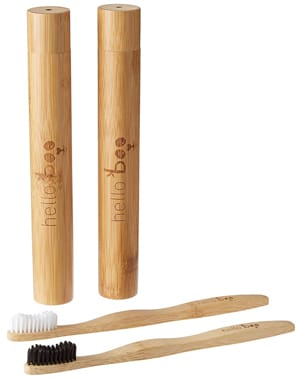 Hello Boo Bamboo Toothbrush Set with Travel Case
