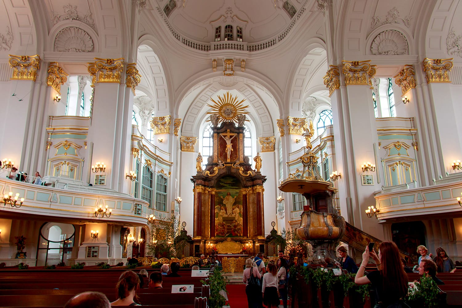 Interior of Saint Michael's Church in Hamburg, Germany