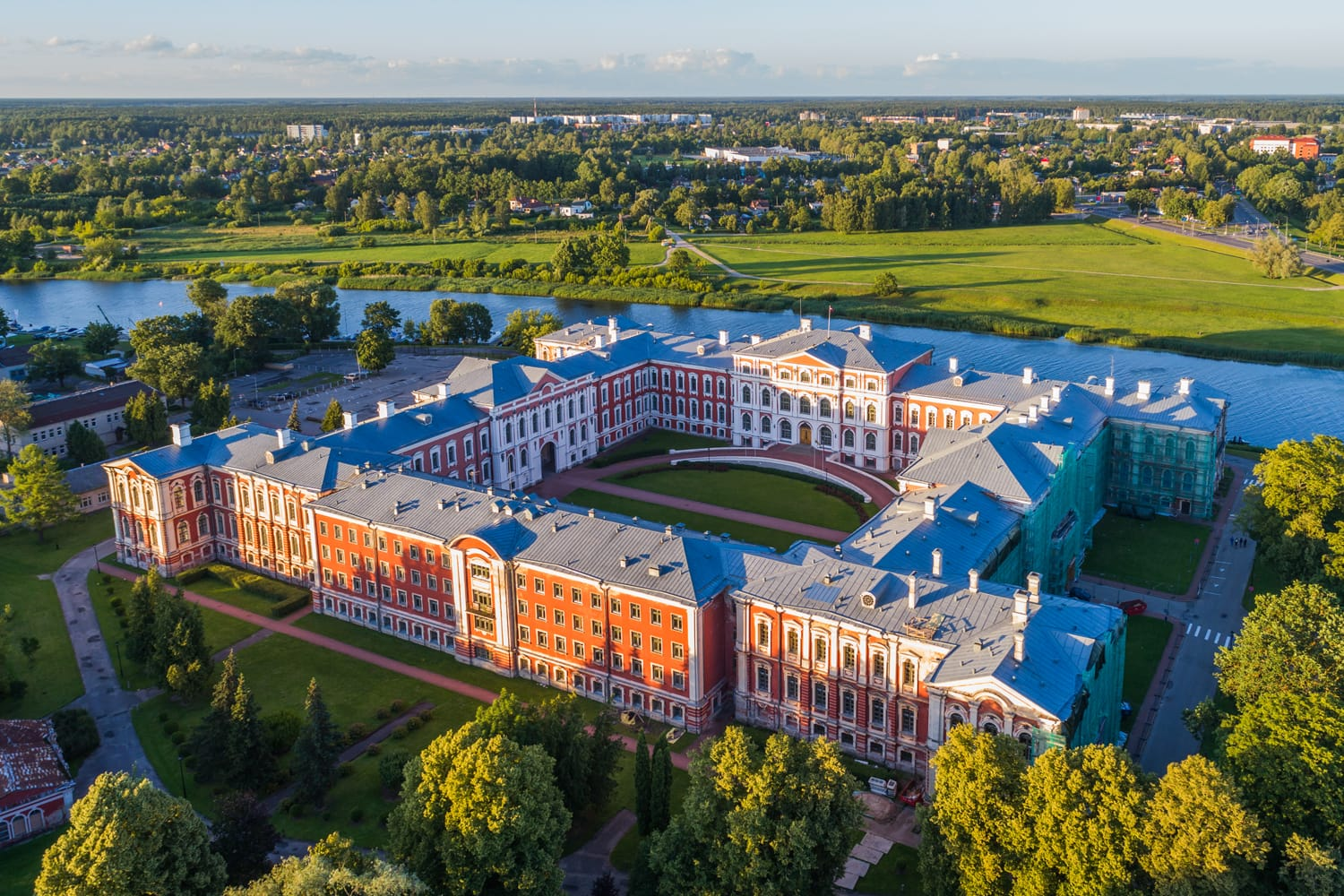 Aerial view of Jelgava palace in Latvia