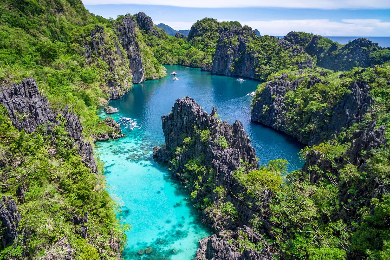 El Nido, Palawan, Philippines, aerial view of beautiful lagoon and limestone cliffs
