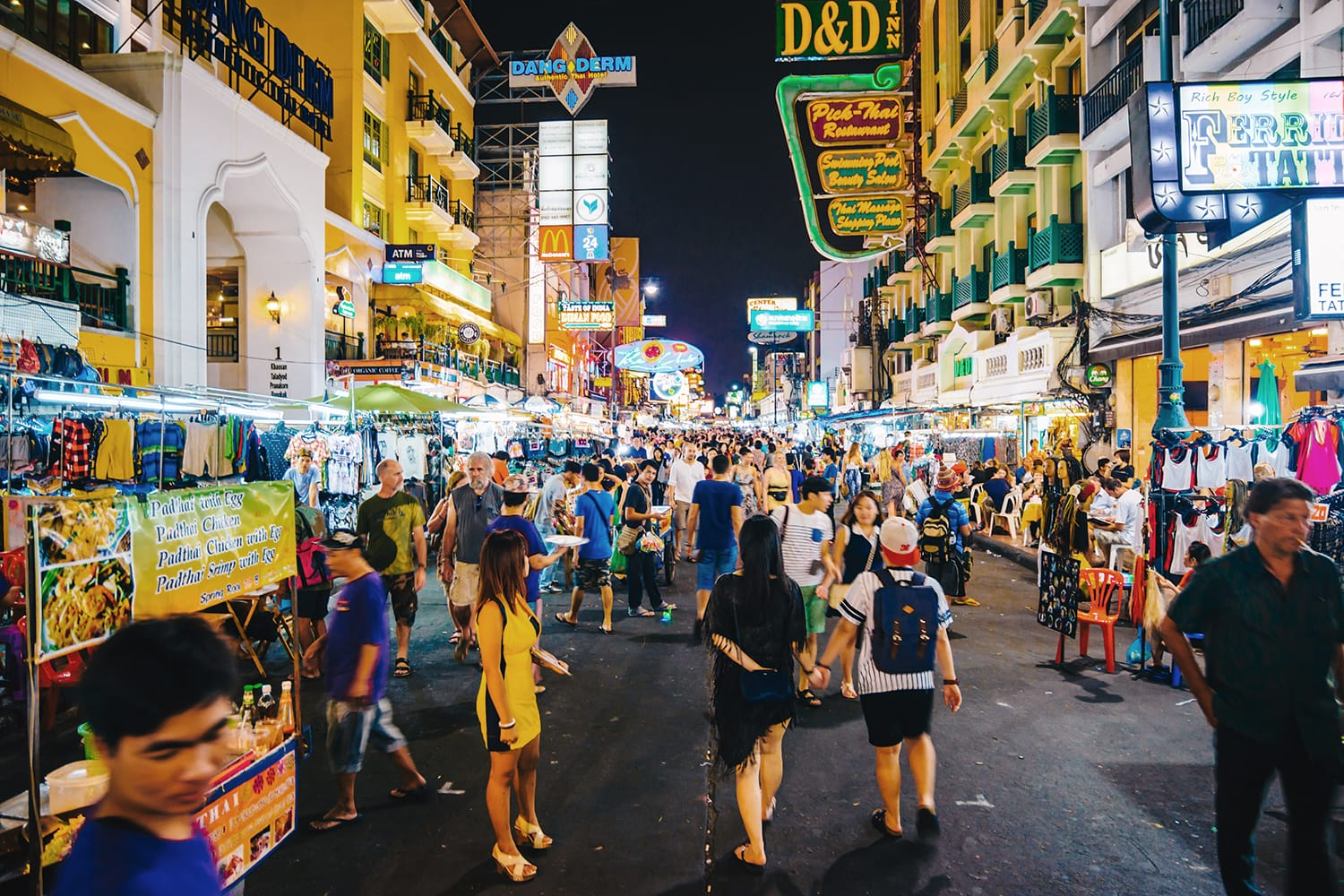 Khao San Road in Bangkok, Thailand at night