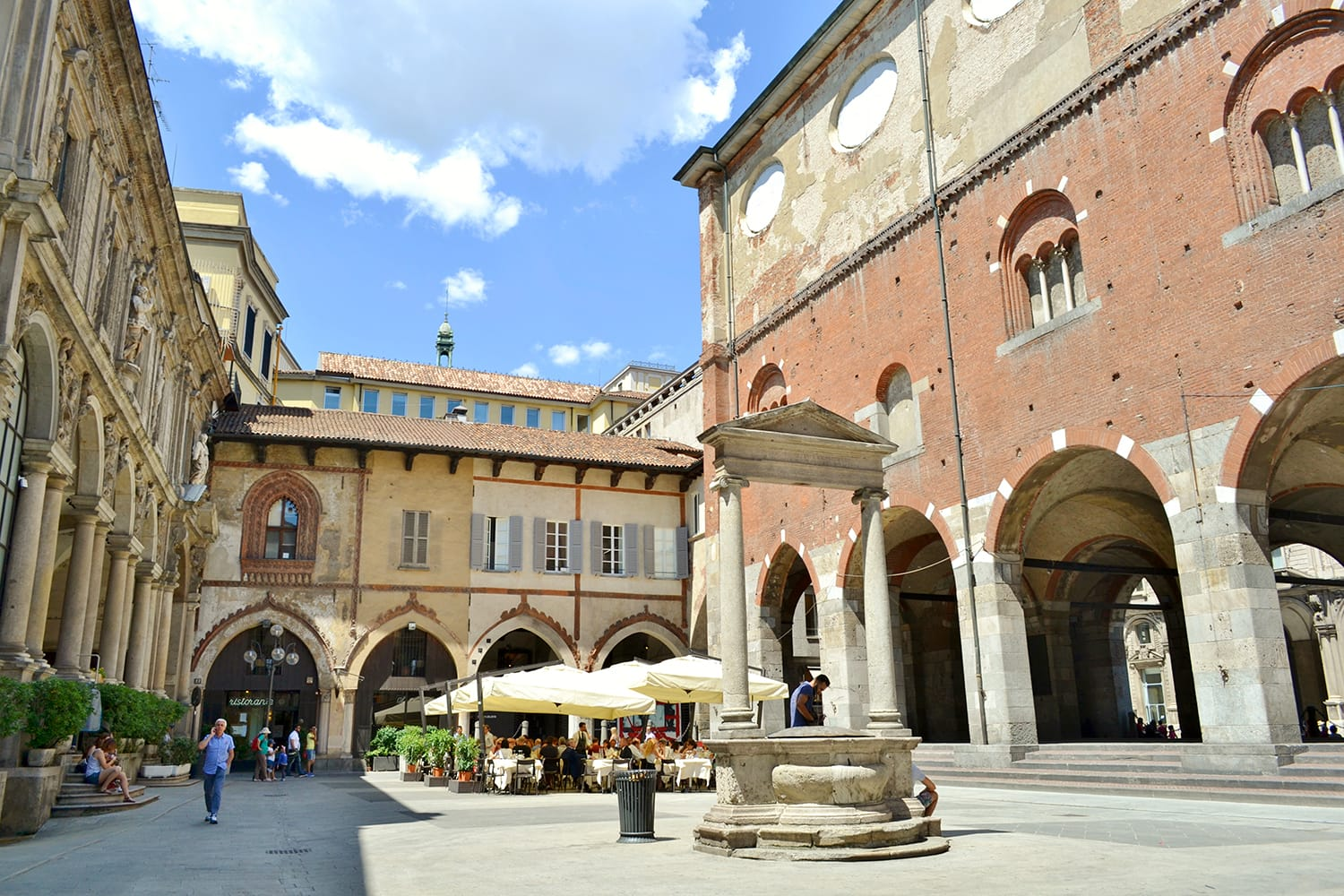 Medieval stunning outlook to an ancient architecture of the Mercanti square in Milan, Italy