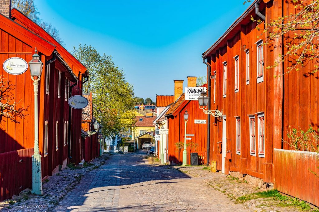View of traditional timber houses in the old town Gamla Linkoping, Sweden